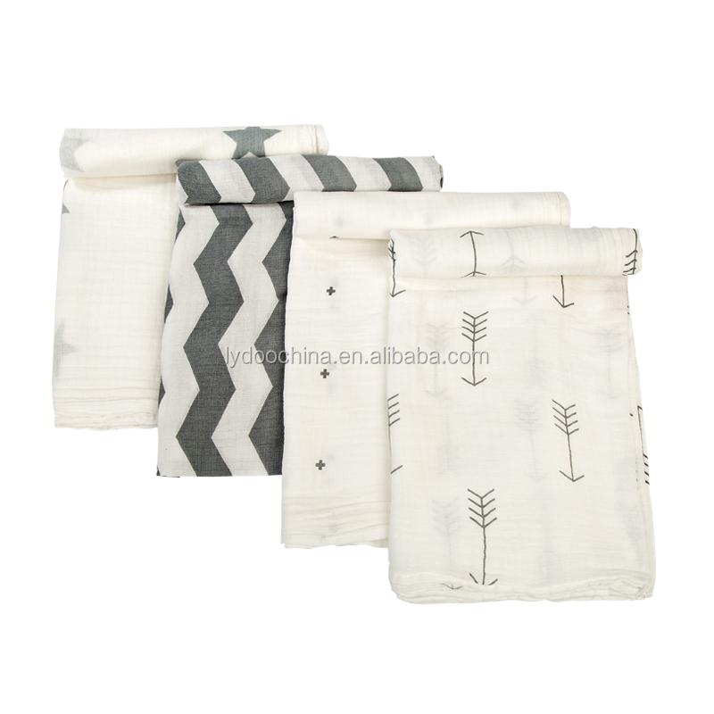 100% Muslin cotton 3pcs pack softextile baby swaddle blanket