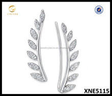 Diamond Leaf Ear Crawlers 925 Sterling Silver Ear Jacket