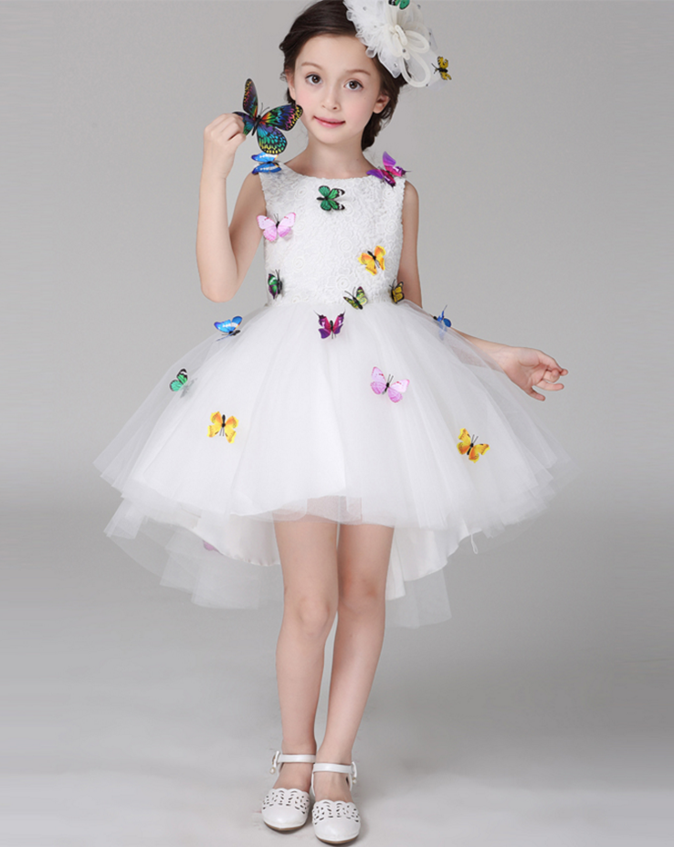 Showlands Beautiful Children Trailing skirts White Color Girl Party Wear Butterfly Dress