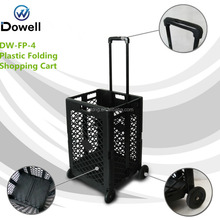 Plastic folding shopping cart Foldable shopping trolley Collapsible hand cart for shopping