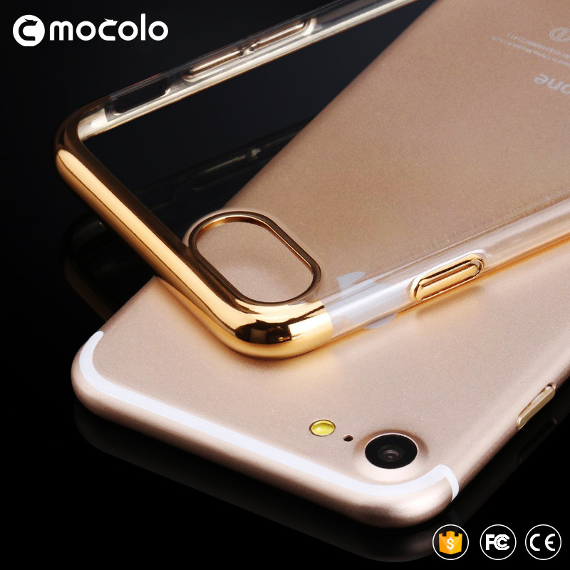 mobile phone electroplated cover for iPhone 7 plus touch screen protector flip electroplating Transparent Hard PC case