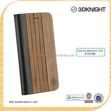 Flip cover PU leather real wood case for iphone 6s