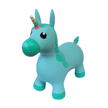 Ride-on Unicorn Riding Jumping Bouncy Lovely Green Unicorn Bouncer Soft Inflatable Animal Space Hopper