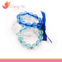 Beautiful Baby Girls' Fashion Jewelry 3 in 1 Set Blue Clear Beaded with Ribbon Tie Bracelet