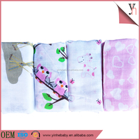 Strong absorption 100% cotton gauze printed washable baby diapers