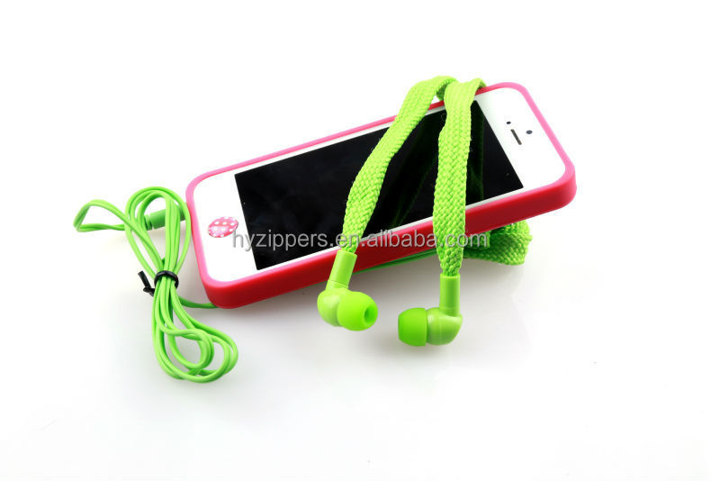 Silicone earbuds white shoe laces headphone for samsung