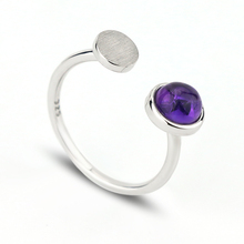 New arrival jewelry fashion gemstone simple purple stone finger amethyst ring designs for ladies