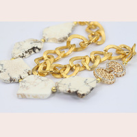 Gemsnorm jewelry fashion irregular high quality white turquoise beads jewellery with gold plated chain for women gift