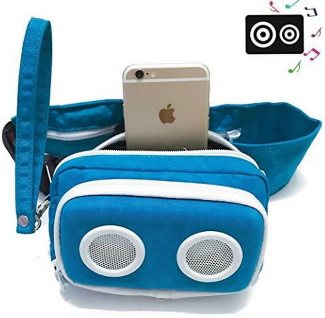Outdoors bluetooth waist bag with stereo wireless speakers USB rechargeable running pack