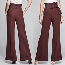 Fluid material women elegant high waist pants with wide bottom and ladies trousers with belt