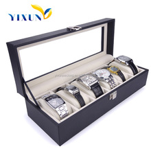 Lacquer 6 slots unique watch wood box gift display box with PVC window big watch suitable