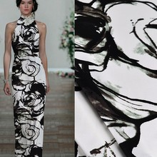 black white floral printed cheap satin fabric