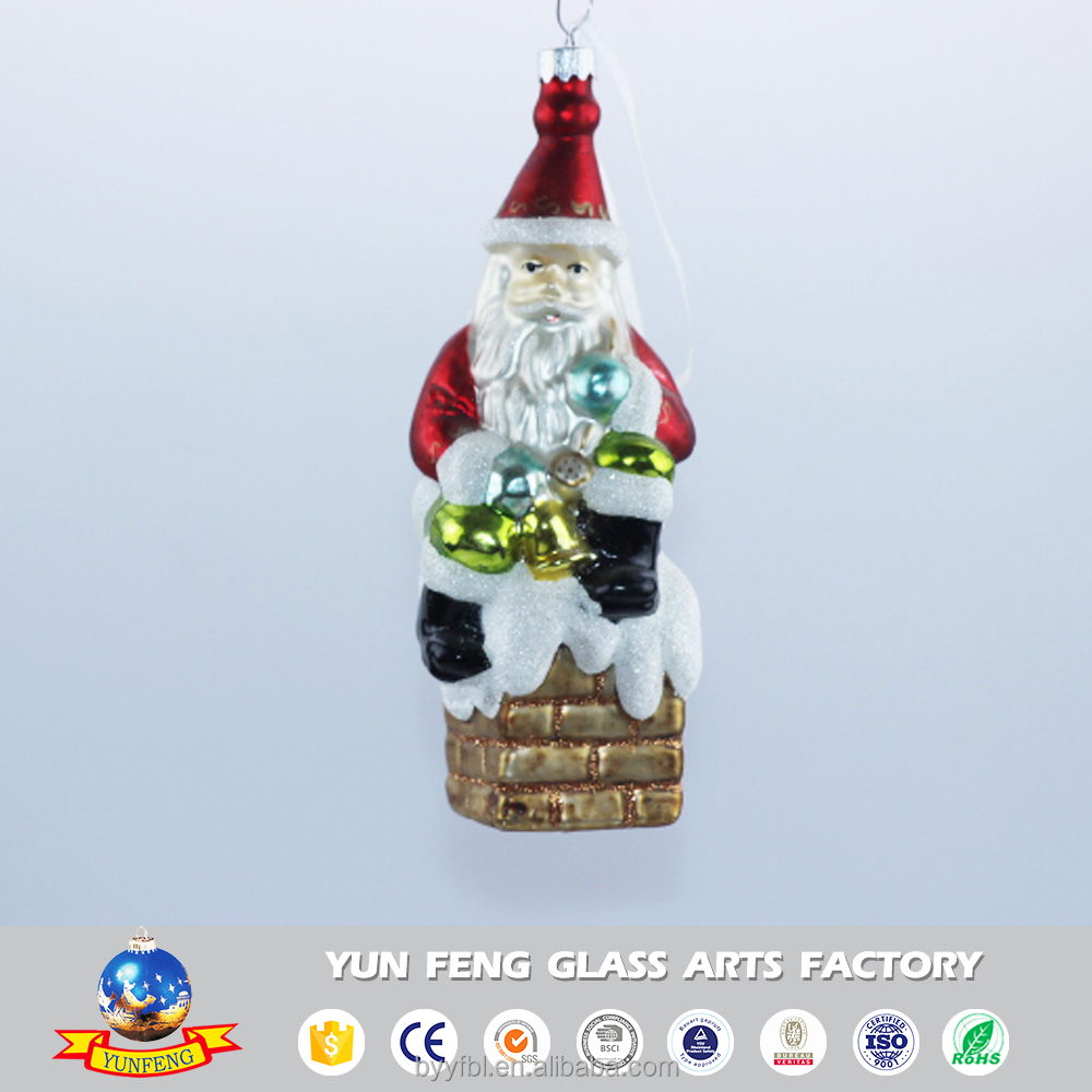 Wholesale hot sell glass santa claus wear Christmas hat decoration