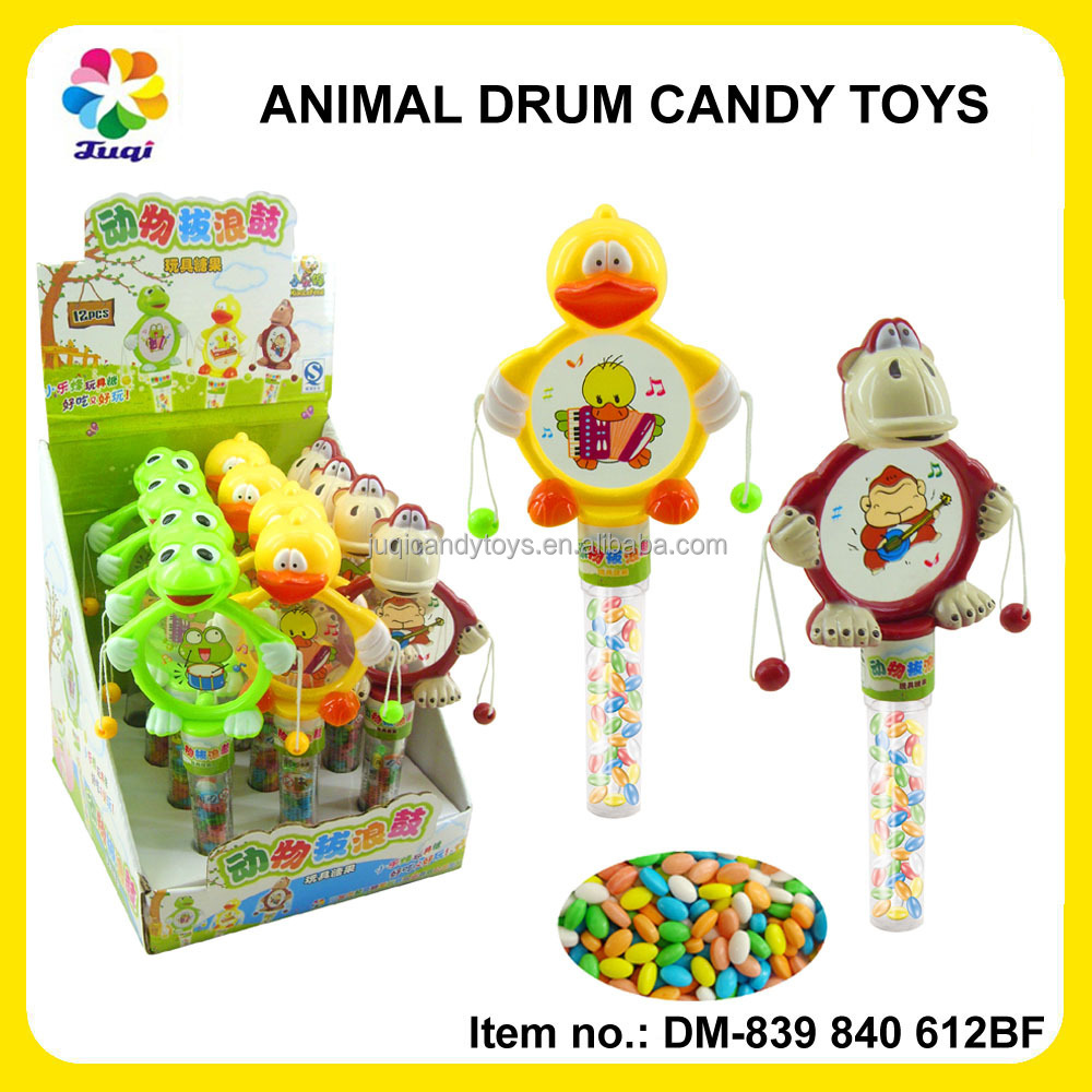 Fun Kids Animal Rattle Drum Toys with Hard Candy Frog/Penguin/Monkey Toys