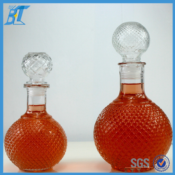 Decorative Unique Ball Shape Glass Wine Liquor Bottle