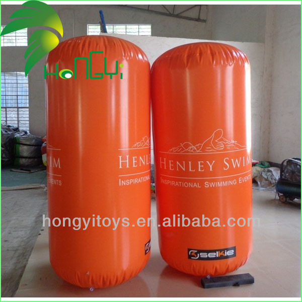 Water Park Orange Inflatable Cylinder Buoys , Inflatable Water Buoy For Sale