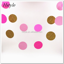Sparkling Paper Garland Bunting For Wedding And Party , Pink White Gold Color Paper Photo Props Garland Circle SGG011