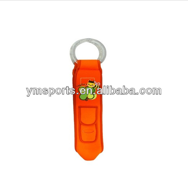 Promotional Orange Color Neopene beer Bottle Cooler with Plastic Handle