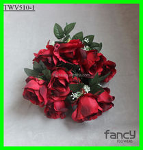 weddings decoration 12 heads cheap artificial big red rose flower