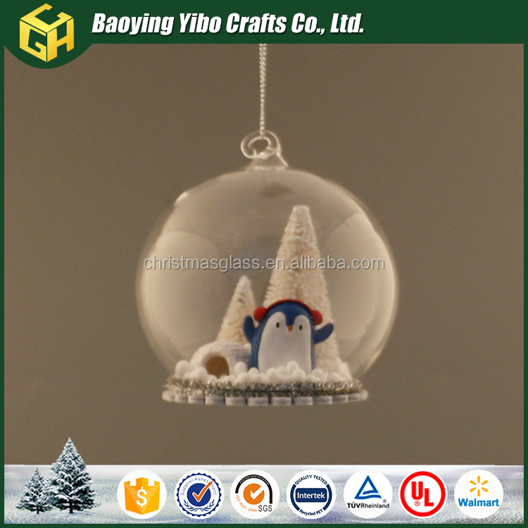 Glass cratfs festival decoration clear open glass ball