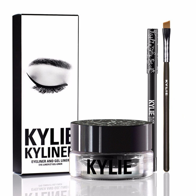 Kyliner jenner makeup kylie In Black/Brown With Eyeliner Gel pot Brush (1 set =1 eyeliner+ 1 brush + 1 cream) cosmetics