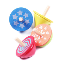 4 kind of Multicolor Classic Wooden Educational Gyro Spinning Top Kids Toy Set for Christmas Gift