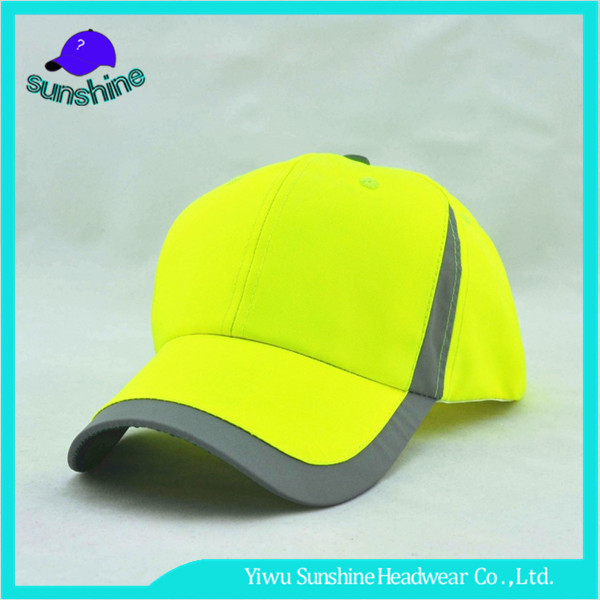 Promotional Fluorescent Green Dry Fit Men Hats Wholesale Golf Baseball Cap With Piping Brim