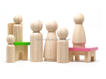 wooden children Painted Doll House peg dolls