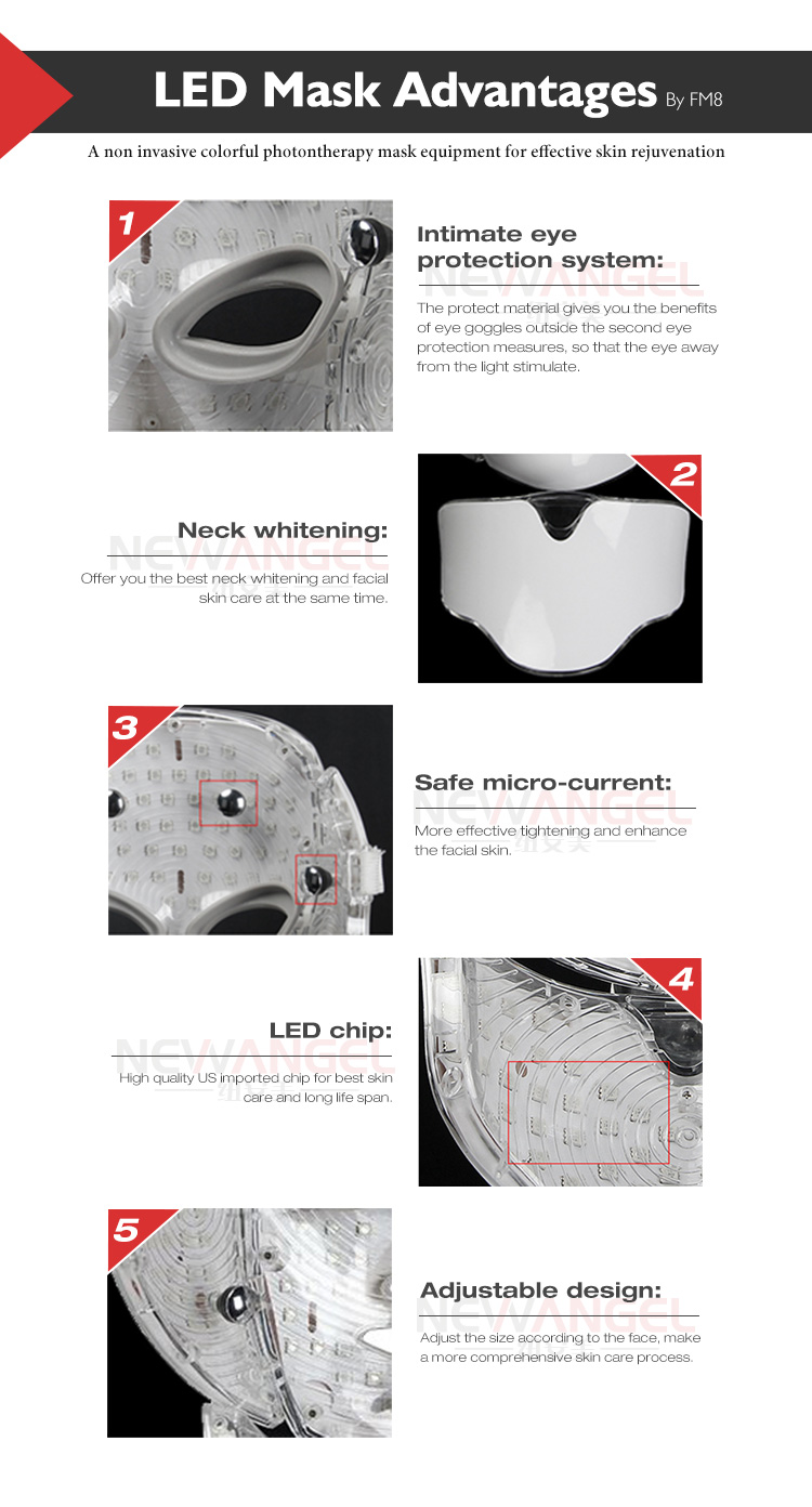 Seven colors facial skin rejuvenation ance and face treatment led mask