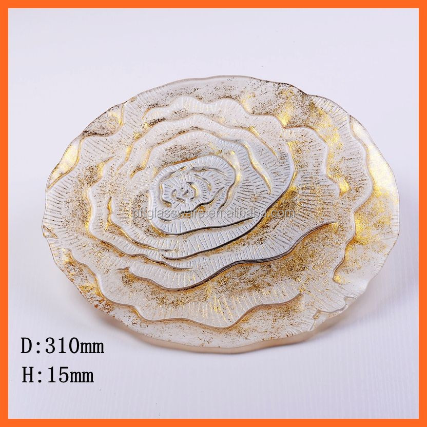 New design colored glass plate with flower design