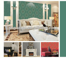 Deep embossed washable painting and photo frame dark green wallpaper