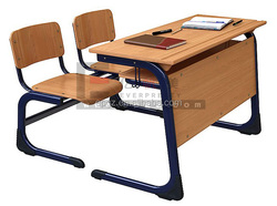 Adult Writing Table Attached Chair, Combo Attached School Table Sets, Combo Desk and Chair