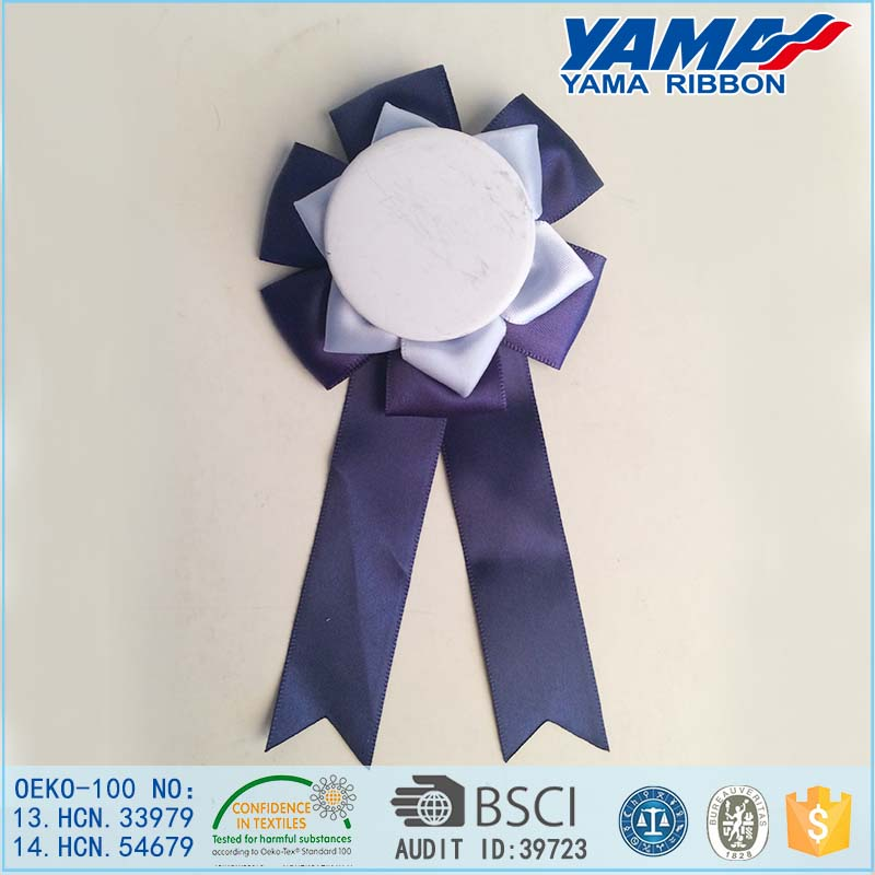 Newest Design Party Supplies Pin Custom Button Badge With Ribbon Rosette Manufacturer