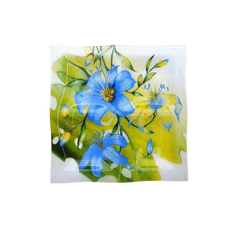 Colored glass plate with flower design tableware