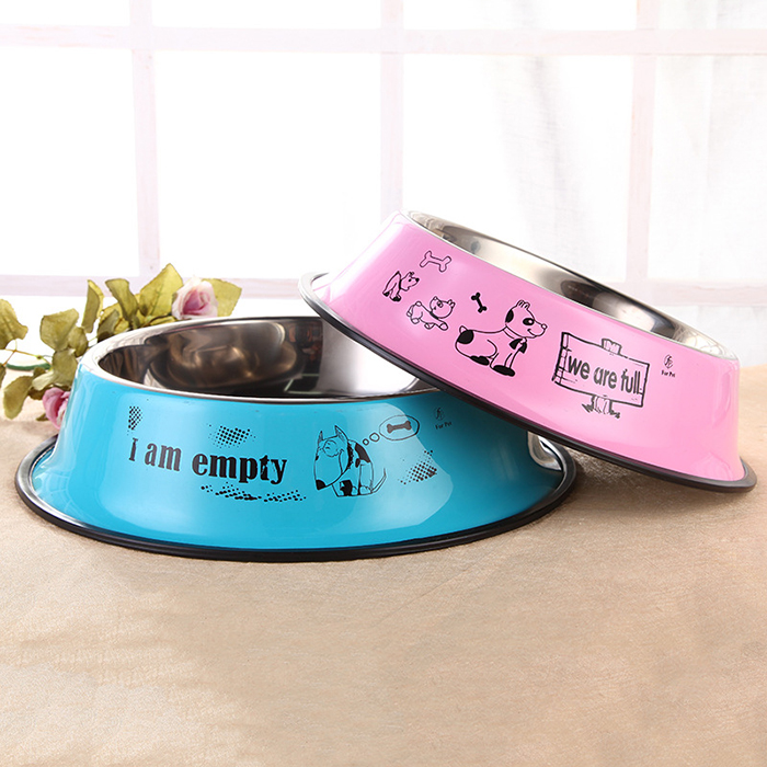 Stain Steel <strong>Dog</strong> and Cat Bowl Colorful Cute Footprint Non-slip Healthy Diet Feeding Bowl