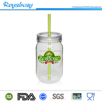 Good quality hot sales plastic mason jar with customized color lid and straw