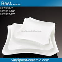 Hand made good quality square shape white porcelain wholesale ceramic bulk dinner plates for restaurant