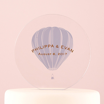 logo customized promotional cake toppers in hot air balloon design in color printing