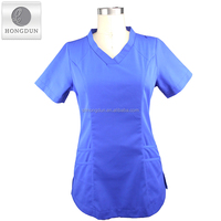 Wholesales fashionable unisex blue color women medical scrubs top with various styles