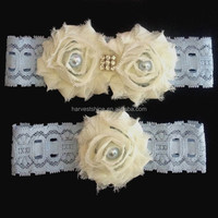 Ivory Shabby flower Toss Garter For Bride,Wedding Blue Leg Lace Garter