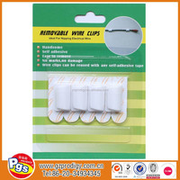 Wall mounting plastic wire clip adhesive removable hook