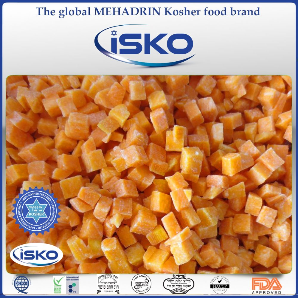 Kosher frozen IQF FRESH PUMPKIN