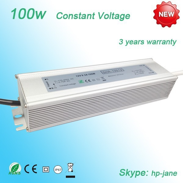 12V 100w constant voltage waterproof led driver with CE RoHS certificates