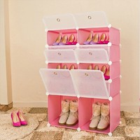 Plastic folding pink color China shoe rack bench for living room (FH-AL02519-12)
