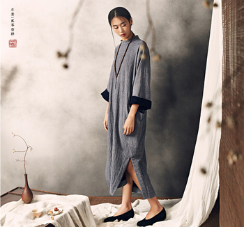 5Chinese style, nature , typical Han Chinese robes , oriental beauty ,linen-cotton blended yarn long shirt dress