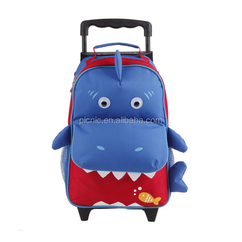 Kid's Cute Cartoon Shark School Bag Trolley Bag