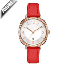 chinese supplier Alloy case leather strap Japan quartz movement 3ATM ladies watch with multi color band