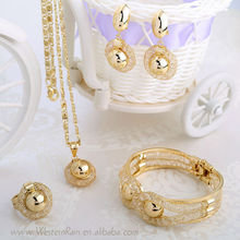 WesternRain Free Shipping to US Dubai Gold Jewelry fashion MOQ 6sets /18 K Gold Plated jewelry gold