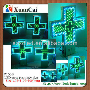 Green and Blue colors Side hanging Outdoor Two sides P16 LED pharmacy cross signs