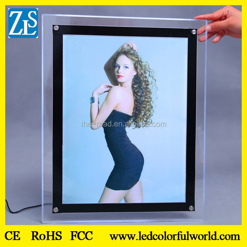Wall Mounted Menu Cover Magnetic Crystal Slim LED Light Box